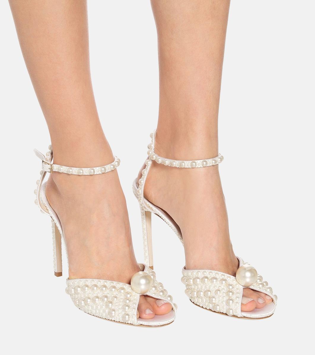Sacora 100 faux pearl embellished sandals