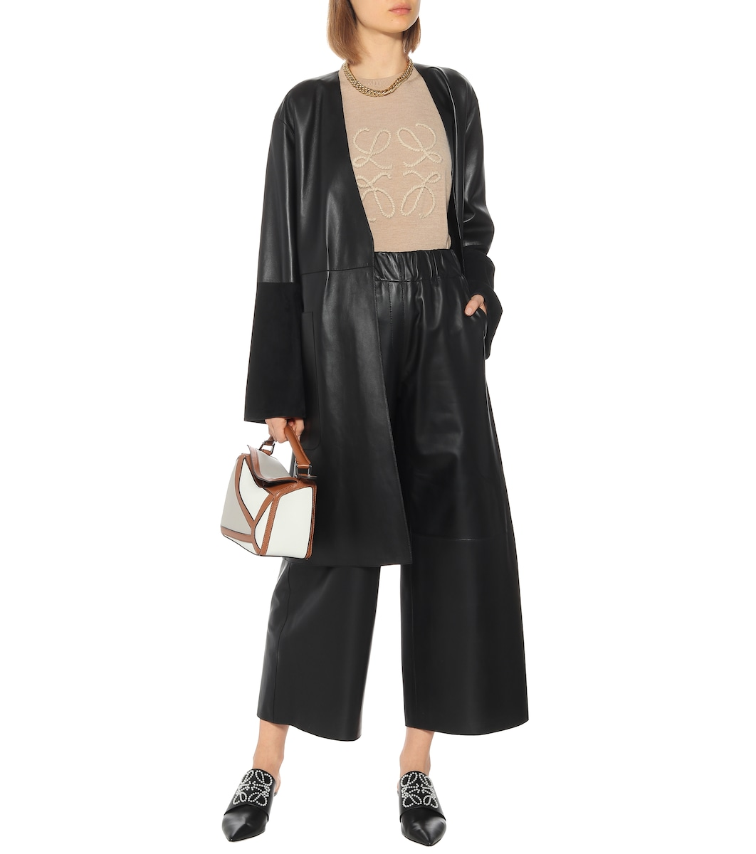 High rise cropped leather pants