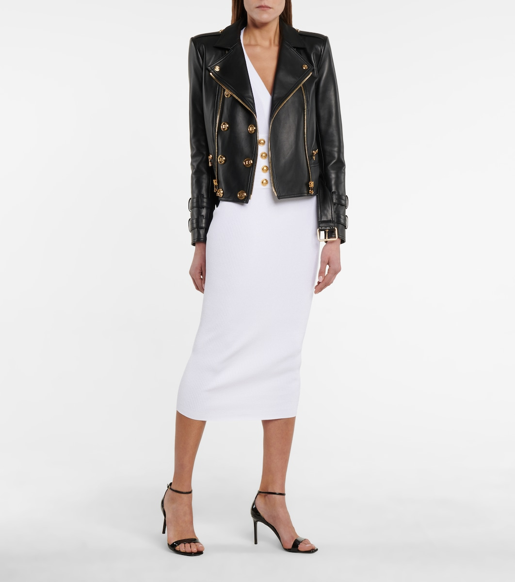Léviathans Femmes Veste en cuir leather jacket balmain Lammnappa taillé sur mesure