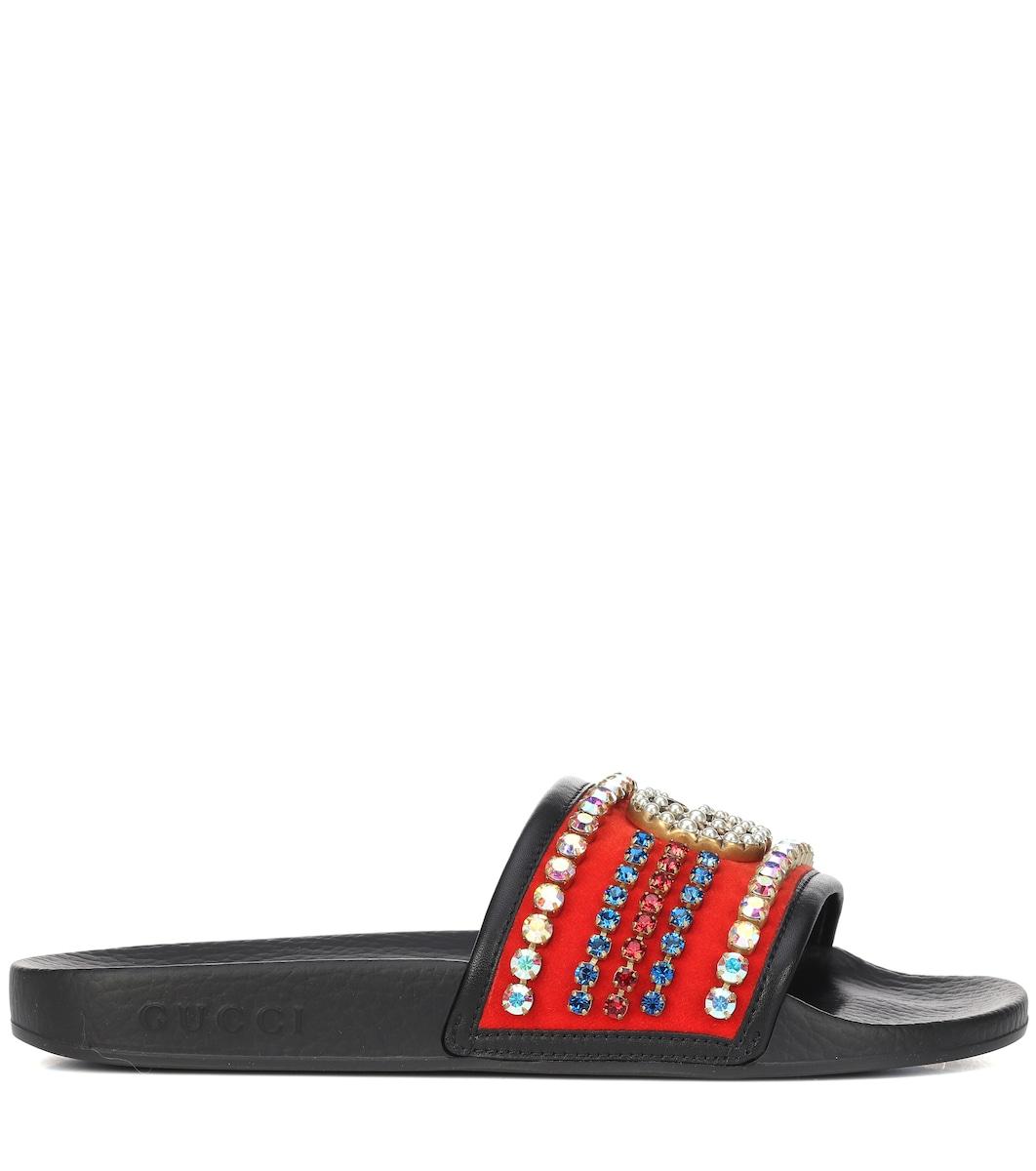 554e90973 Gucci - Crystal embellished slides | Mytheresa
