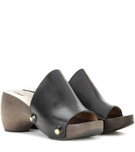 Izzy leather platform clogs