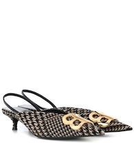 Knife checked slingback pumps