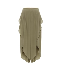 Asymmetric silk-chiffon pants