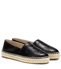 Logo-embossed leather espadrilles