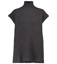 Ribbed knit wool-blend top