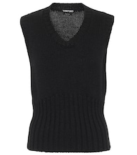 Ribbbed-knit virgin wool sweater vest