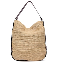 Bayia leather-trimmed raffia tote