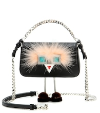 Micro Baguette fur-trimmed leather shoulder bag