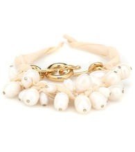 Silk and faux pearl bracelet