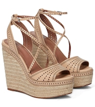 Laser-cut leather espadrille wedges