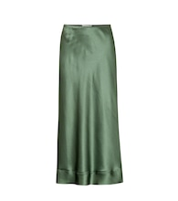 Stella silk satin midi skirt
