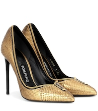 Zip snakeskin pumps