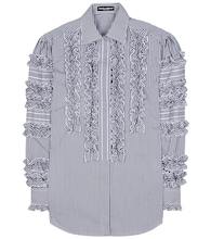 Ruffled cotton-blend shirt