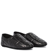 FF embossed leather ballet flats