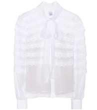 Lace-trimmed silk pussy-bow blouse