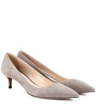 Suede kitten-heel pumps