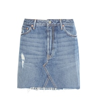 Eva A-line distressed denim miniskirt