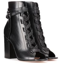 Brooklyn open-toe leather ankle boots