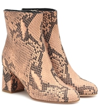 RED (V) snake-effect leather ankle boots
