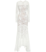 Charla asymmetric pleated lace gown