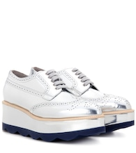Metallic leather platform brogues