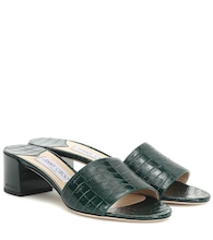 Joni 40 croc-effect leather sandals