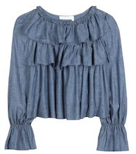 Cotton-blend chambray top