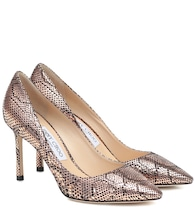 Romy 85 snake-effect leather pumps