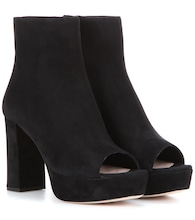 Peep toe suede ankle boots