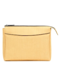 Two For One leather-trimmed clutch