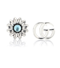 Double G flower sterling silver and topaz stud earrings