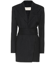 Striped stretch-wool minidress