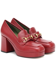 Horsebit leather loafer pumps