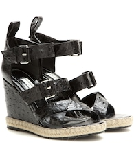 Rope Track leather wedge sandals