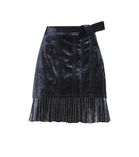 Velvet and pleated metallic skirt