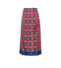 Printed pleated silk midi skirt