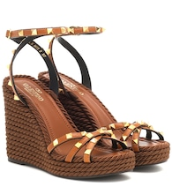 Valentino Garavani Rockstud Torchon leather wedge sandals