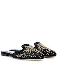 Calista embellished satin slippers
