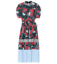 Printed linen and cotton midi dress