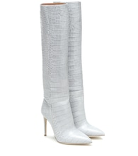 Exclusive to Mytheresa – Croc-effect leather knee-high boots