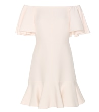Virgin wool and silk crêpe off-the-shoulder dress