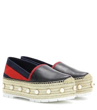 Embellished leather platform espadrilles