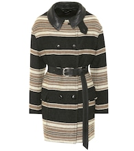 Hilda striped wool-blend coat