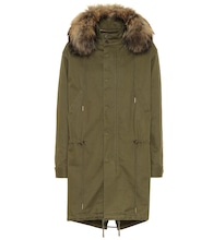Cotton-blend fur-trimmed parka
