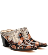 Romeo snake-effect leather mules
