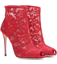 Lace open-toe ankle boots