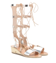 Thebes Wedge metallic leather gladiator sandals