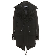 Cappotto in lana mélange con shearling