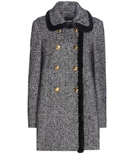Fur-trimmed virgin wool and silk-blend coat