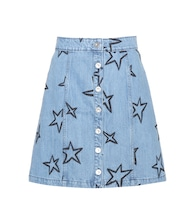Star-embroidered denim miniskirt